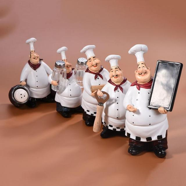 Vintage Home Decor Kitchen Restaurant Resin Crafts Cute Chef Statue  Figurine Ornaments