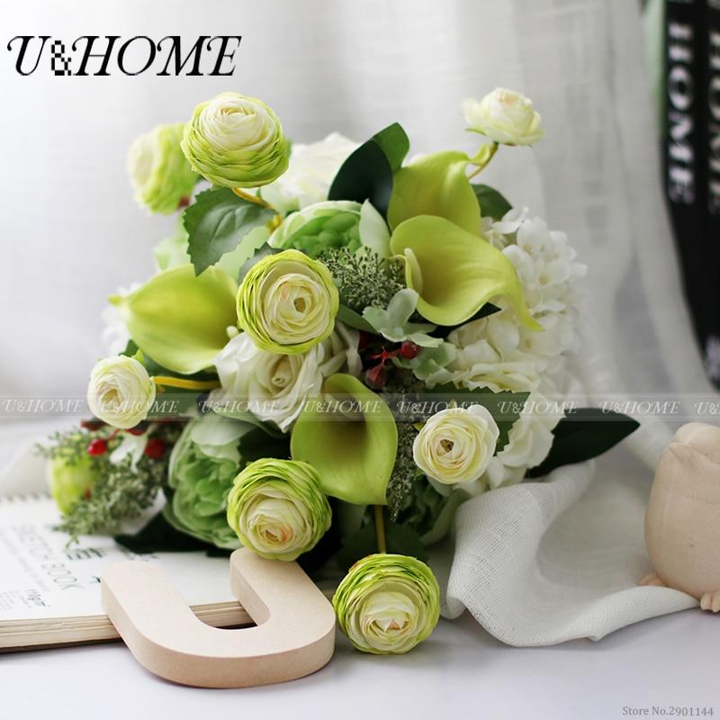 Artificial DIY bride bouquet silk peony green Ranumculus asiaticus hydrangea PU callas for home wedding <font><b>flower</b></font> decoration bulk