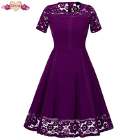 XZreal Lace Patchwork Vintage Dress Women Summer Short Sleeve Rockabilly Party Dresses Floral Crochet Swing Tunic