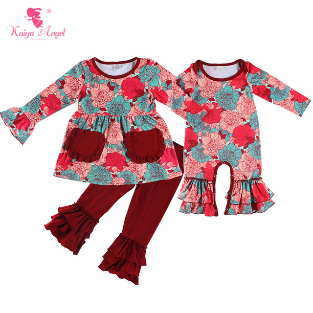 60a523d8f506 Kaiya Angel Baby Girls Autumn Romper Colorful Peony Printed Newborn Ruffle  Clothes Toddler Winter Jumpsuit Factory Wholesale