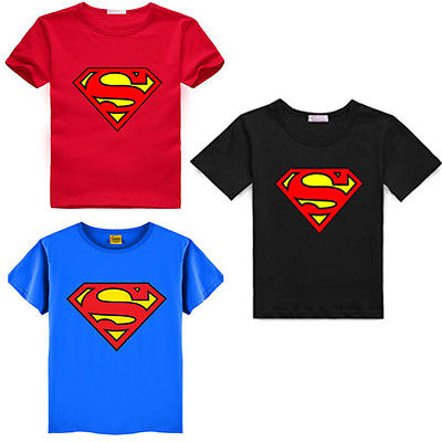 цены 2016 Cartoon Printing Superman Short Sleeve T-Shirts Fashion Cotton Children Kids Baby Girls Boys T Shirts Tops Child Clothing