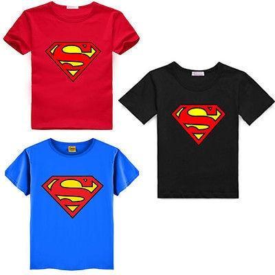 2016 קריקטורה הדפסת סופרמן קצר שרוול חולצות אופנה כותנה ילדי ילדי תינוק בנות בני T חולצות חולצות ילד בגדים