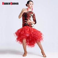 2015 New Latin Salsa Dresses Red Tiger Black Cha Cha Rumba Samba Dance Skirt Dance Wear