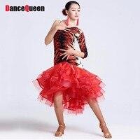 2015 New Latin Salsa Dresses Red Tiger Black Cha Cha Rumba Samba Dance Skirt Dance Wear