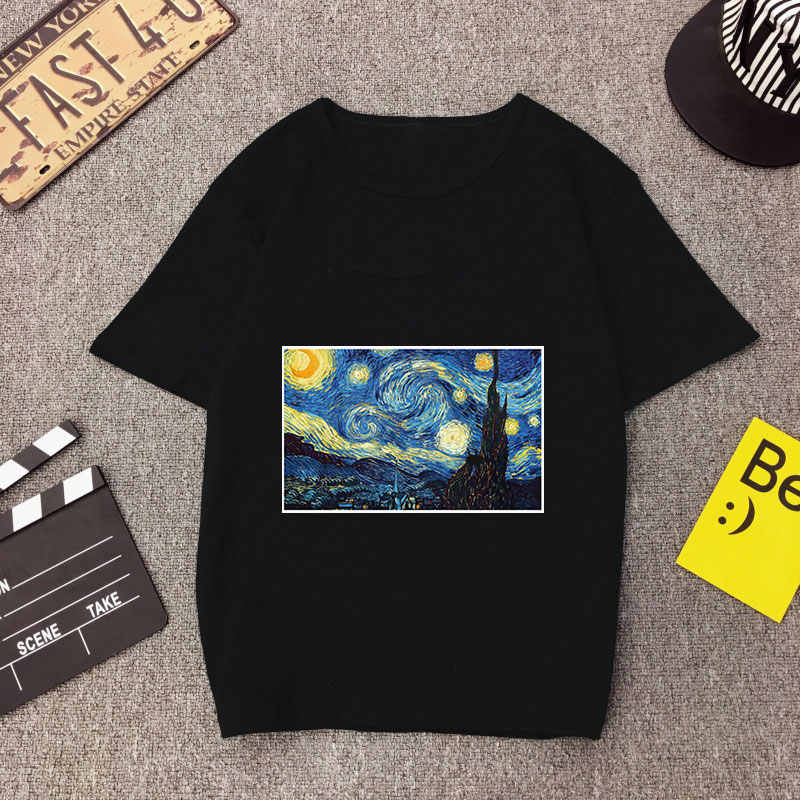 Women T Shirts Fashion  Van Gogh Painting Summer Aesthetic Graphic Tees Plus Size Tops Short Sleeve Casual Female T-shirts Black