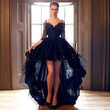 Vestidos De Festa Vestido Longo 2015 Frühling Sommer Neue High Low Abendkleider Schwarz Spitze Formale Abendkleider Abendkleider
