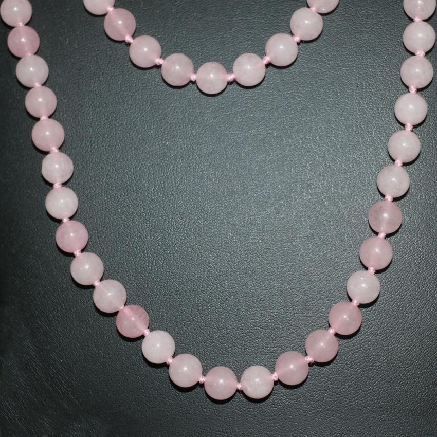 3262c2b9cbfbb1 8mm naturel rose pierre calcédoine jades ronde perles à longue chaîne  collier pour femmes bricolage bijoux 50 pouces B2921