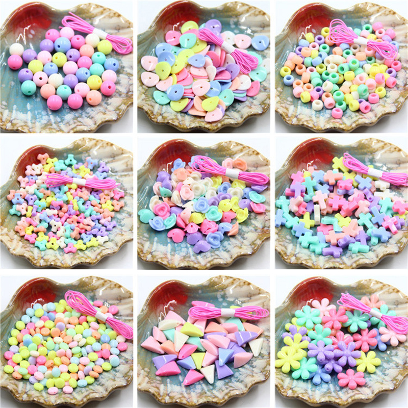 18 Shapes DIY Beads Toy Children Creative Handmade Girl Gift Weaving Necklace Bracelet Jewelry Making Beaded Handicrafts Toys
