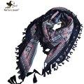 Estilo étnico Con Flecos Brim Square Bufanda y Mantón de Las Mujeres del Diseño de Marca Bufandas y los Abrigos de Las Señoras Geométrica Floral Impresión Bandana