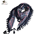Ethnic Style Fringed Brim Square Scarf and Shawl for Women Brand Design Scarfs and Wraps Ladies Geometric Floral Print Bandana