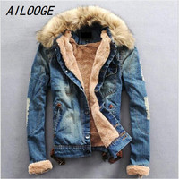 AILOOGE Winter Ripped Denim Jacket Men Clothing Jean Coat Men Casual Jacket Outwear With Fur Collar