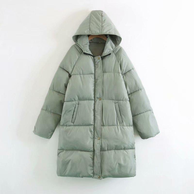 Down 2018 Zipper Winter green Female Warm Long Casual Loose Coats Women Outwear Oversize Overcoat Jacket Autumn Hooded Parka gray Black Padded dXqgwTwz