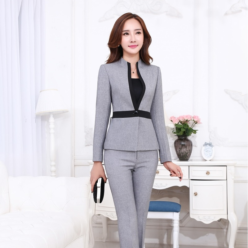 Formal Ladies Pant Suits For Women Business Suits Gray Blazer And Jacket Sets Beauty Salon ...