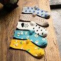 2016 Moda lindo patrón de gallos de las mujeres otoño invierno cálido algodón calcetines cortos femeninos kawaii impreso tobillo calcetines de mujer