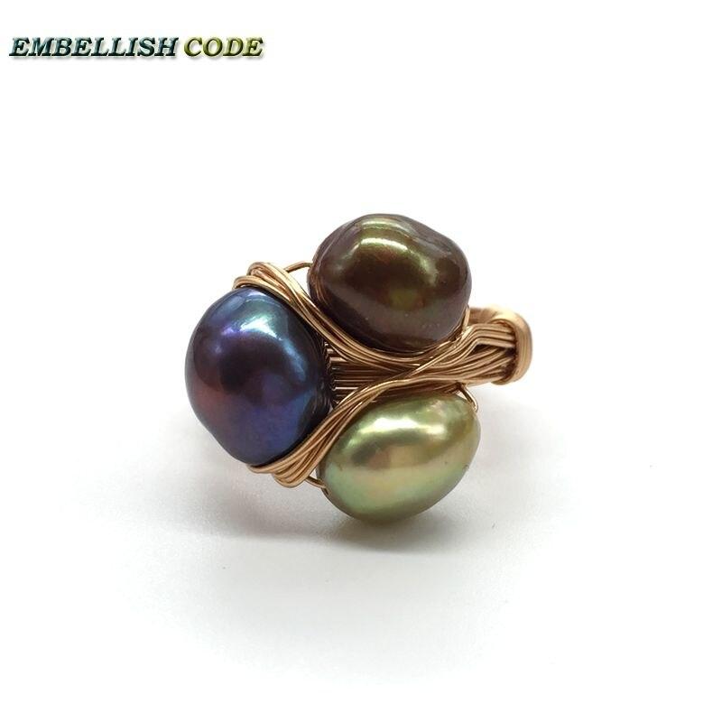 Nouveau Design pièces originales dorées avec des perles baroques anneaux faits à la main paon brun gris couleur mélangée trois perles ensemble