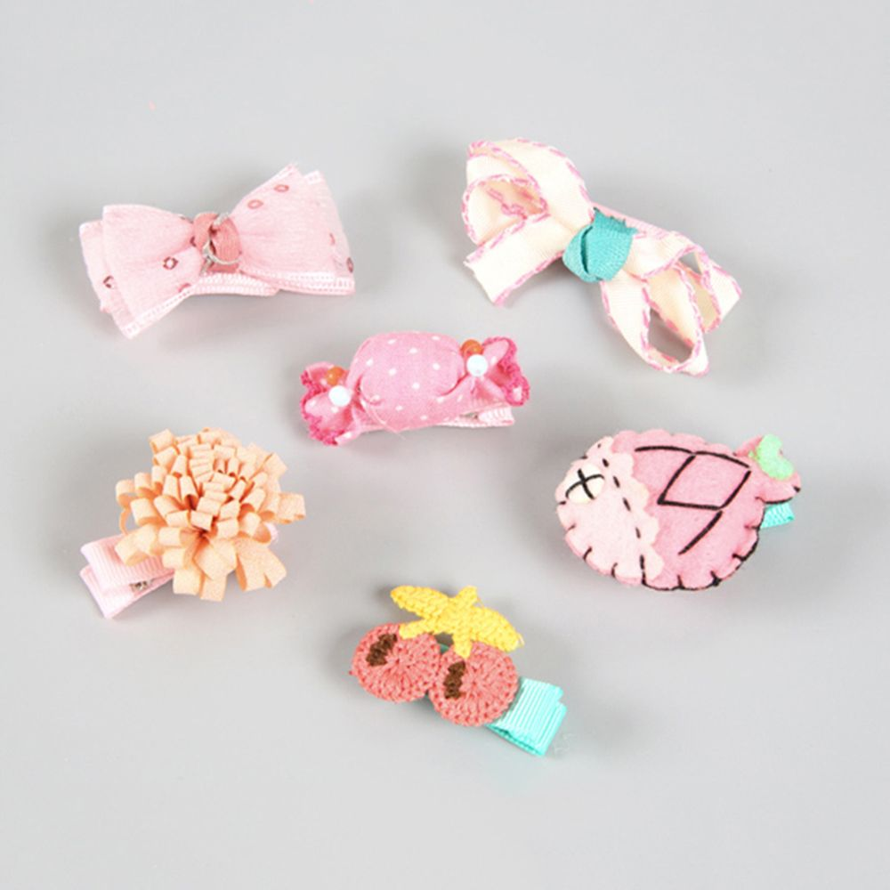 6Pcs/set girls flowers hair clips cartoon hairpins toddlers kids Animal Bow SAFE Barrettes Hair Accessories Flower gift