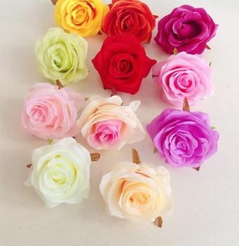 48pcs/lot Artificial Rose Flower Heads 11 Colors Plastics Flowers 8cm Chinese Roses for Wedding Party Centerpieces Floral Decor rose