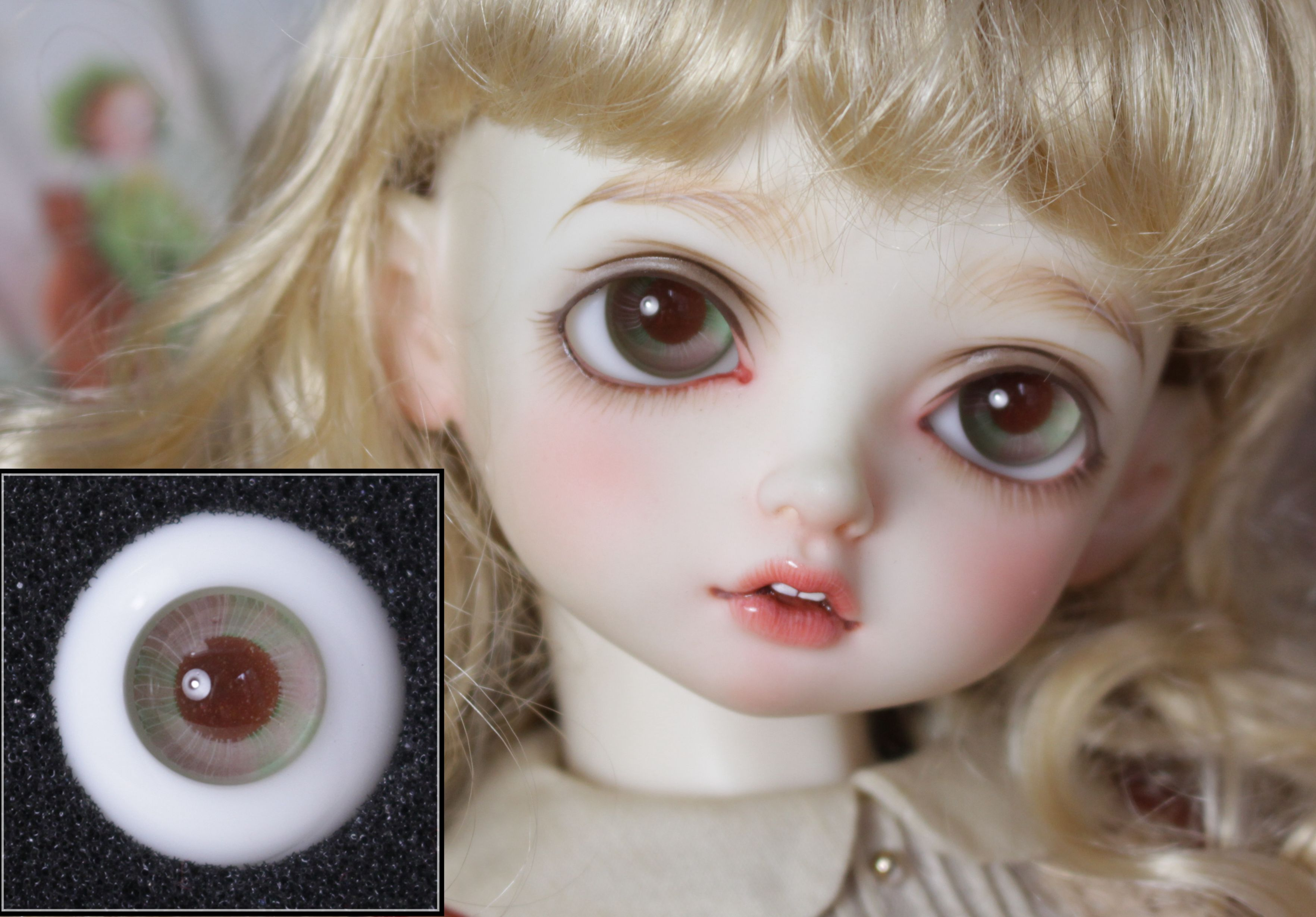 BJD Doll Eyeballs Are Suitable For 12mm14mm16mm18mm Real Life Glass Eyeballs /H03 Pink And Green Doll Accessories [YH]