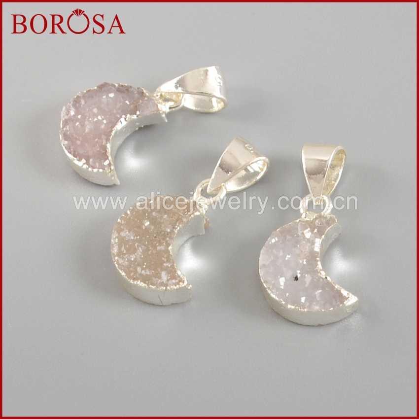 BOROSA 10X8mm Pure Silver Crescent Moon White Quartz Charm Natural Quartz  Druzy Pendant Bead Druzy Jewelry 91fcfd98369a