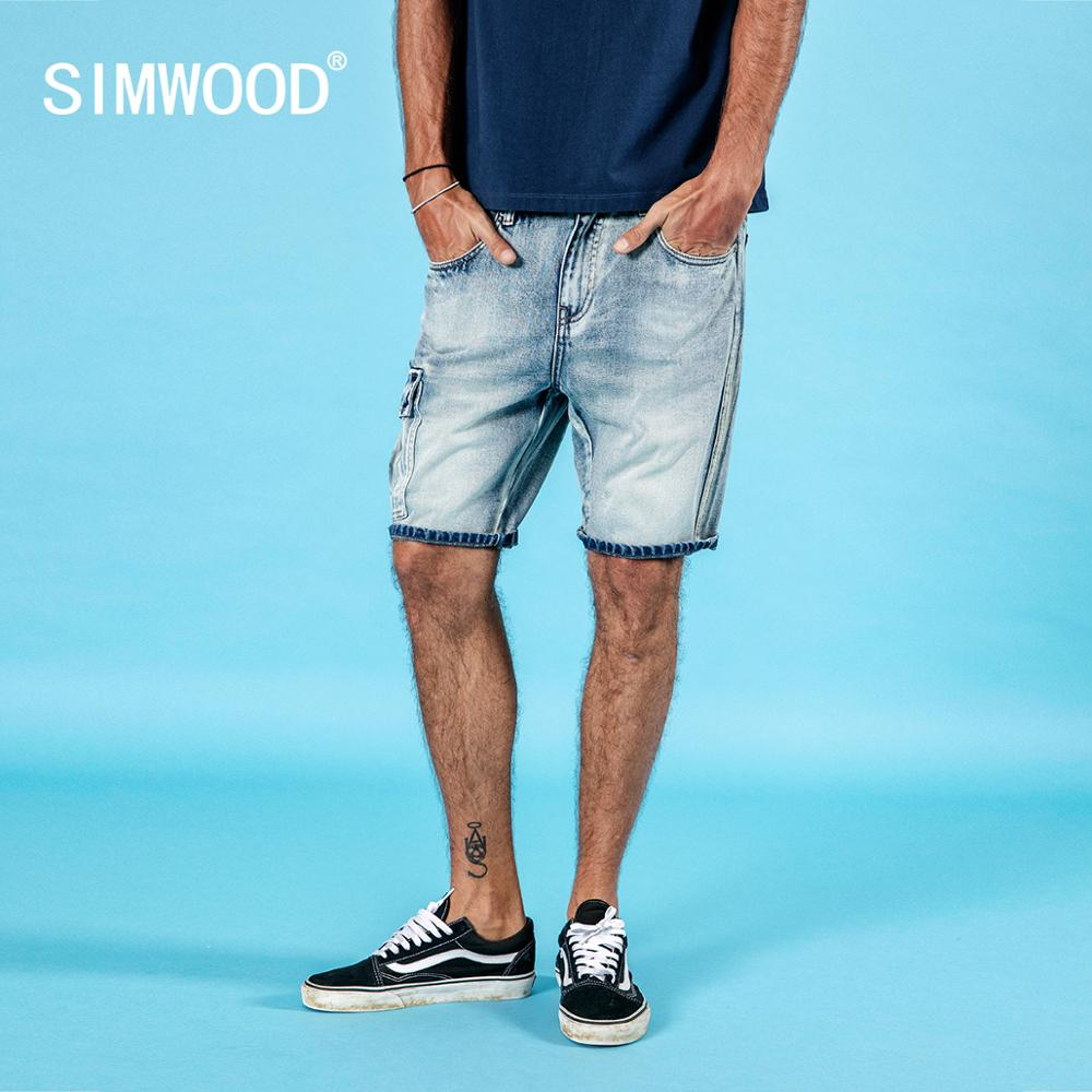 SIMWOOD 2020 Summer New Denim Shorts Men Wash Vintgae Cargo Shorts Fashion Hip Hop 100% Cotton Striped Shorts Brand 190333