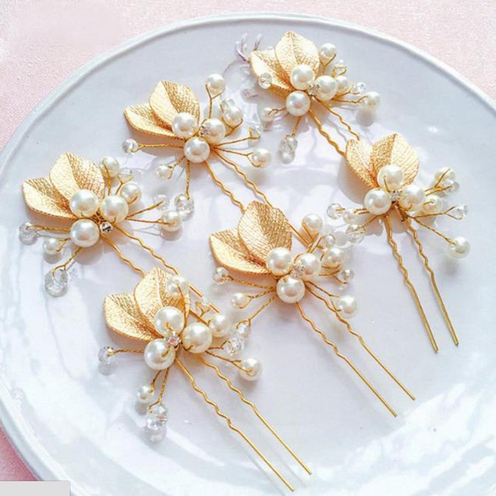6pcs/lot Bride Headdress Golden Color U-shaped Small Hair Hairpin Handmade Pearl Crystal Flower Wedding Headdress
