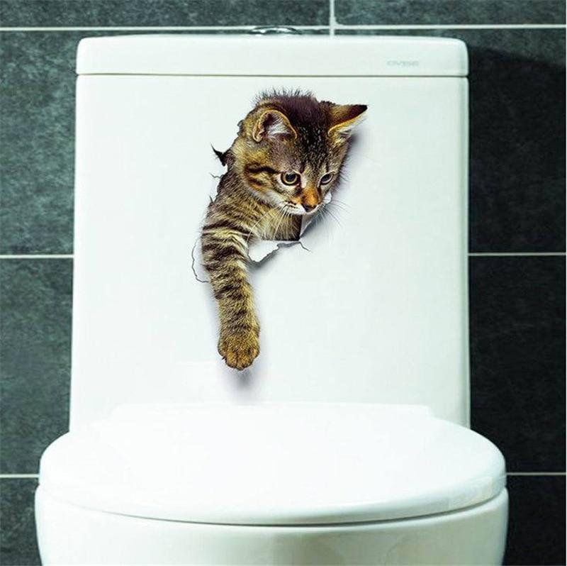 Cats Dog 3D Wall Sticker Bathroom Toilet Living Room Kitchen Decoration Animal Vinyl Art Sticker Poster 30