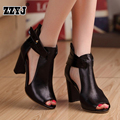2017 Hot!! New real genuine leather high heel shoes fashion peep toe footwear women sexy casual sandals big size cool boots