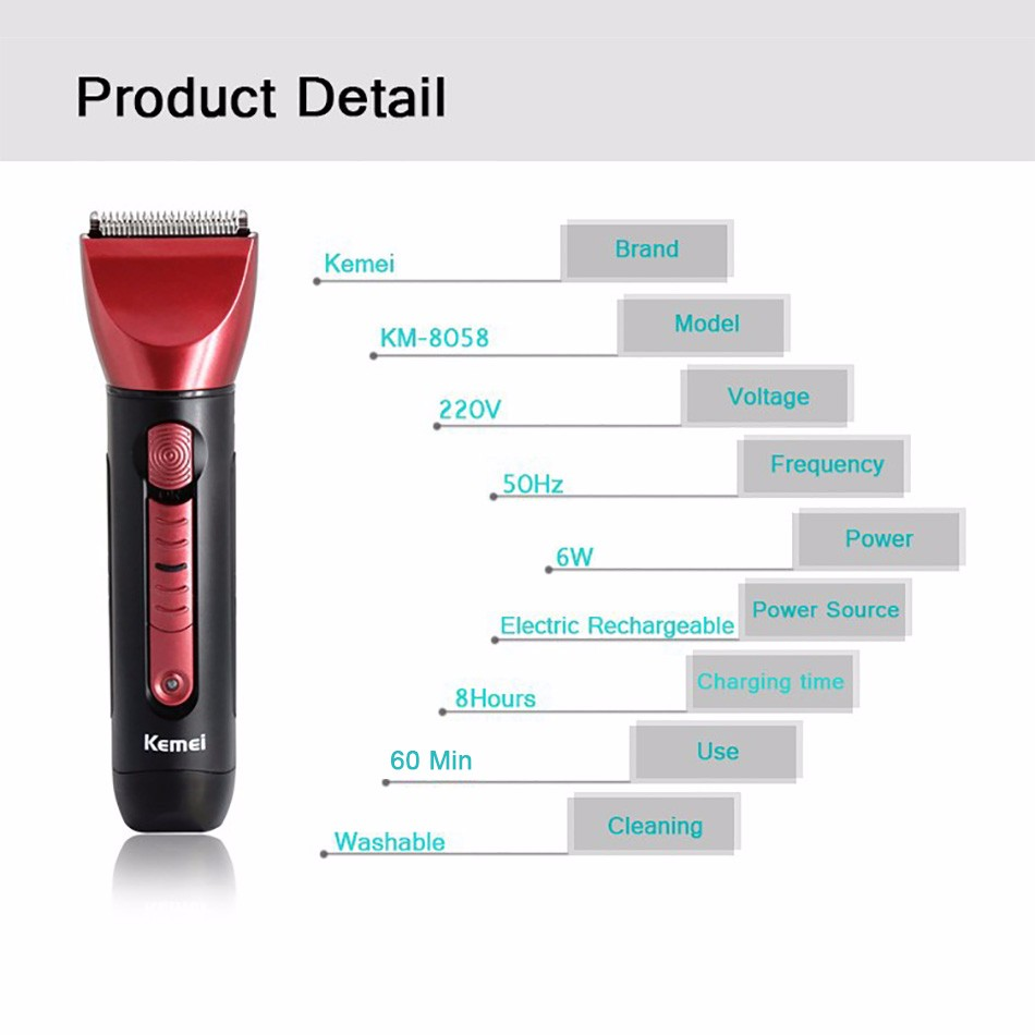 Kemei KM-8058 5 in 1 Professional Washable Rechargeable Electric Hair Clipper Trimmer  Shaver Razor Cordless Adjustable Clipper