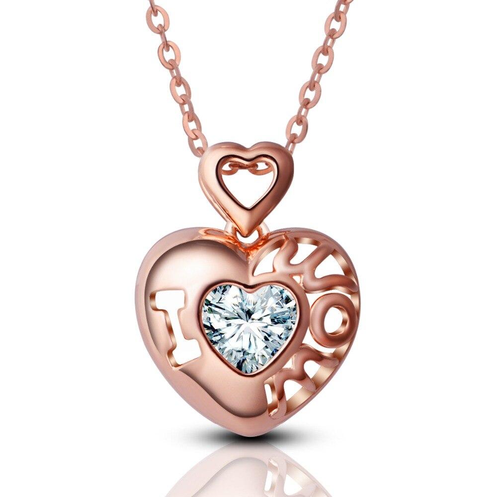 Eudora 100% 925 pendentif coeur en argent Sterling mère collier chaîne en or Rose j'aime maman Design bijoux fins pour cadeau de fête des mères