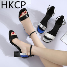 HKCP Sandals women 2019 summer new style with Korean version of chunky heel toe buckle womens sandals C154