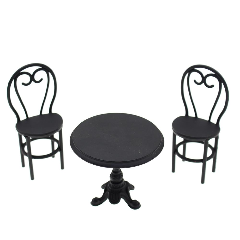INJORA 1 12 Dollhouse Miniature Accessories Metal Dining font b Table b font font b Chair
