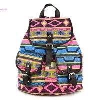 2013 New Fashion Lady Korean Stylish Vintage National Backpack Floral Canvas Bag School Bag Knapsack 5