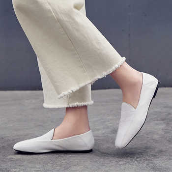 XiuNingYan Genuine Leather Fur Flats 2019 Spring Casual Shoes Plus Size 33-42 Loafers Black Leopard Print Woman Horsehair Flats