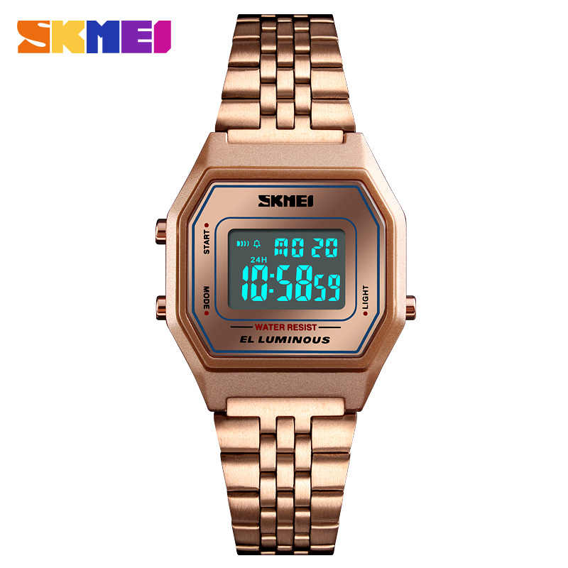 Fashion Wanita Digital Watch Luxury Rose Gold Stainless Steel Gelang Jam Tangan Top Brand Skmei Olahraga Jam Tangan Wanita Jam