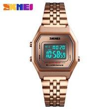 Модные женские цифровые часы, Роскошные наручные часы из нержавеющей стали с розовым золотом, лучший бренд SKMEI, спортивные женские часы