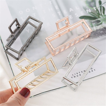 Women Geometric Hair Claw Solid Color Crab Retro Square Shape Pearl Clips Claws Accessories Large Size Hairpin