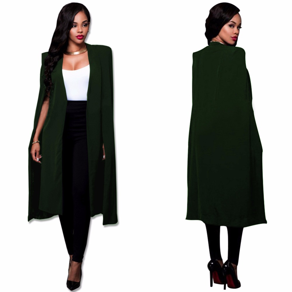 Women Cloak Cape Long Blazer Coat Fashion Black White Personality Notched Neck Lapel Split Jacket Suits Workwear Blazer Feminino