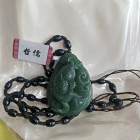 Zheru Jewelry The one and only Hand carved natural Hetian Jasper Green Ganoderma Fish Pendant Necklace