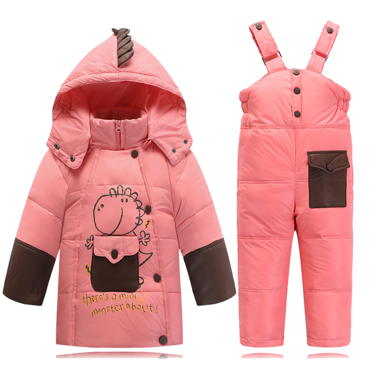 Kids Clothes Baby Boys Girls Winter Down Coat Children Warm Jackets Dinosaure Toddler Snowsuit Outerwear Coat+Pant Clothing Set 2016 winter boys ski suit set children s snowsuit for baby girl snow overalls ntural fur down jackets trousers clothing sets