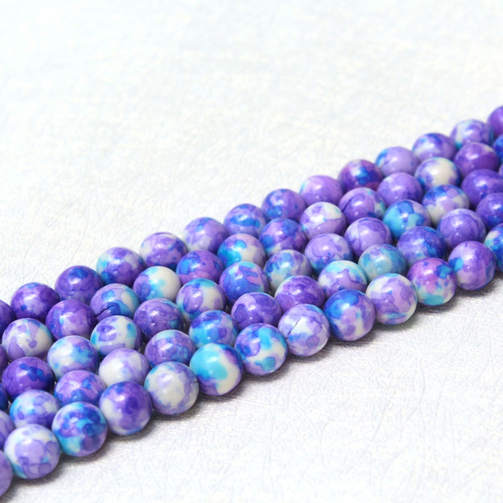 Motivated Wholesale Rainstone Pattern Dye Purple Natural White Stone Beads For Jewelry Making Diy Bracelet Necklace 4/6/8/10/12 Mm 15 Beads