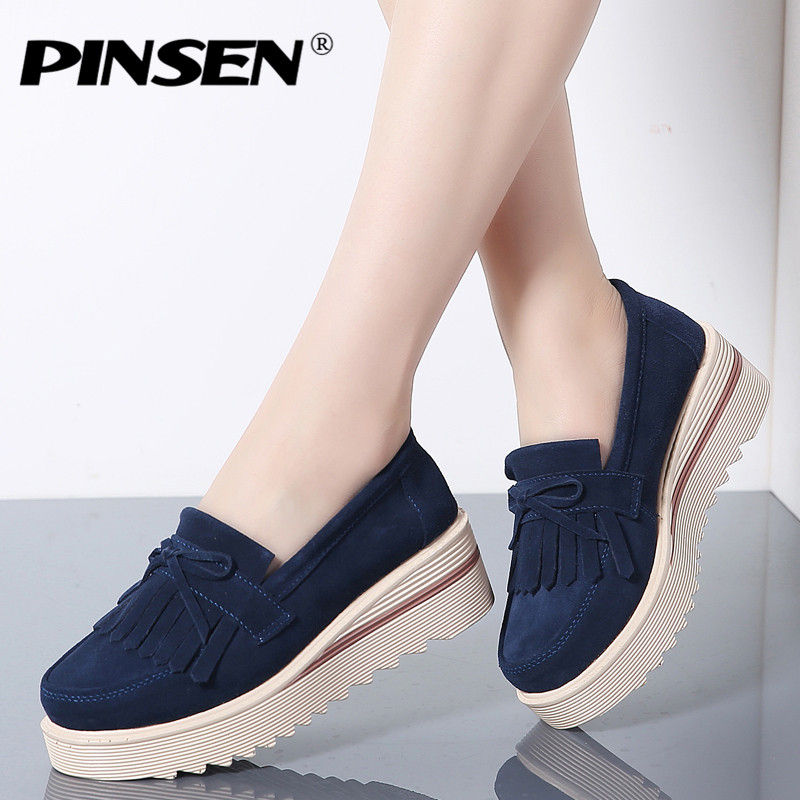 PINSEN Autumn Flat Platform Women Shoes   Leather     Suede   Tassel Slip on Loafers Flat Shoes Woman Moccains Casual Creepers Shoes