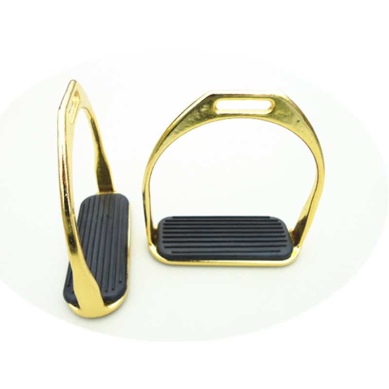 12cm Horse Saddle English Stirrups Horse Equipment F1014 Nickel Plated Gold Racing Stirrups