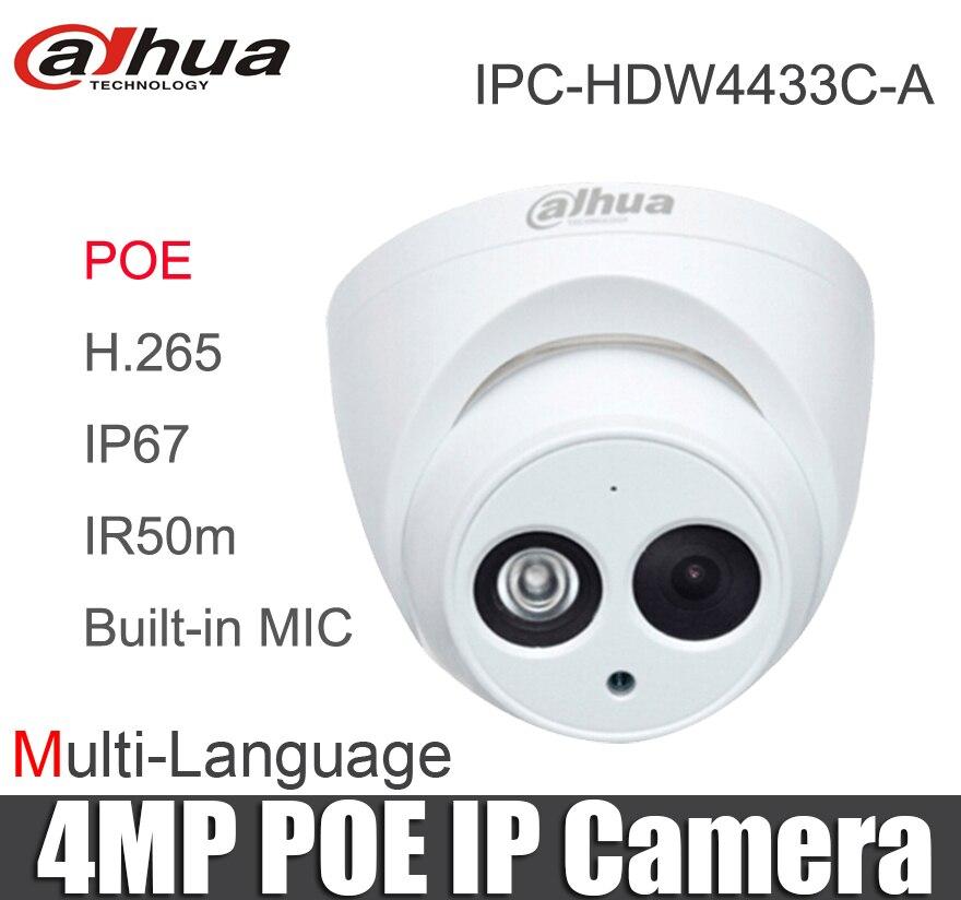 Dahua Multi language IPC HDW4433C A Starlight Mini Dome IP Camera 4MP POE replace ipc hdw4431c