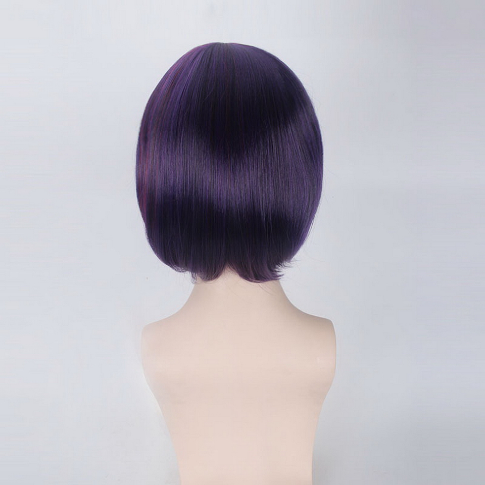 12inch LOL League of Legends Wine Red Purple Short Ombre Wig Cosplay Anime Straight Synthetic Hair Fiora Laurent Wigs For Women