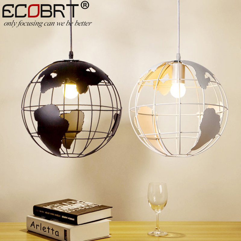 Home Dining Room Nordic Pendant Lamps Round earth Black / White Coffee Bedroom Pendant Lights Iron Material AC110V/220V E27 bprd hell on earth v 7