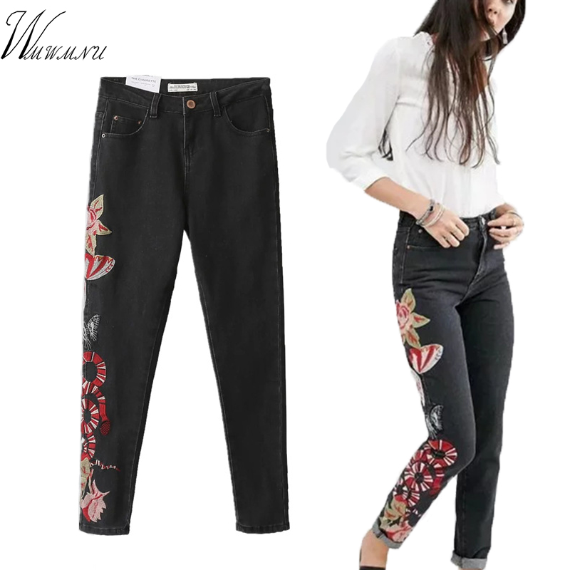Wmwmnu New 2017 Women s Vintage Embroider jeans Sexy tie waist Stretch Denim Pants Female Slim