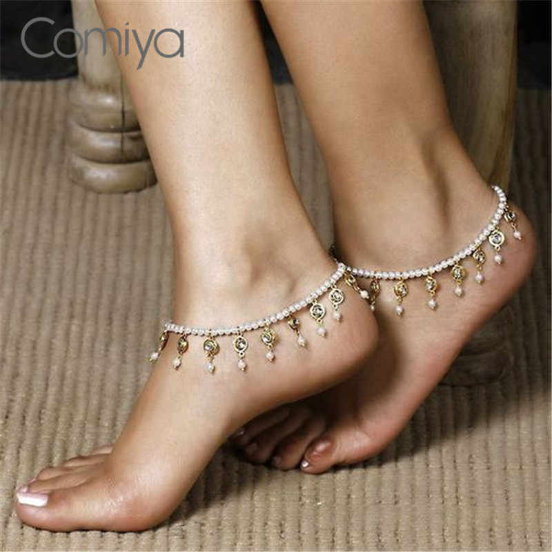 Comiya Imitation Pearls Beads Pendant Charming Foot Accessories Anklet For Women Indian Tornozeleira Feminina Anklet Wholesale