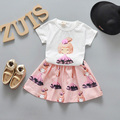 Summer Baby Girls Clothing Set Cartoon Printed Girls T-shirts And Skirts 2pcs Baby Suit NewBown Infant Girls Clothes Sets