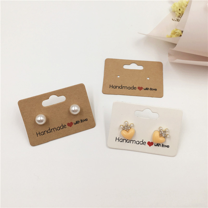 400Pcs Jewelry Display Cards with Hole White Kraft Paper Earrings Display Cards Jewelry Tags for Hanging Bracelet Necklace Ear Studs and Earrings Hair Rings Accessories