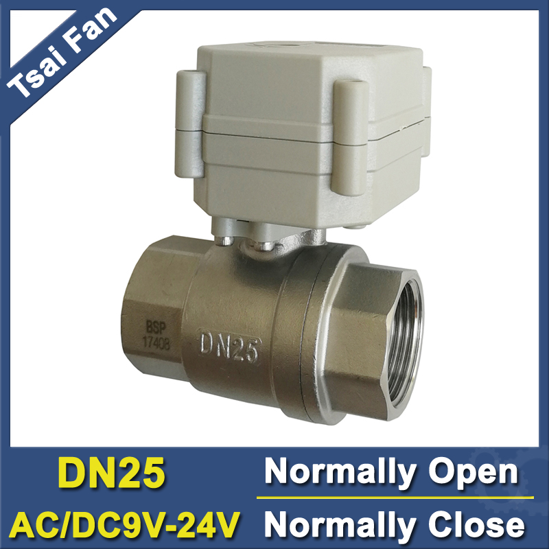 """TF25-S2-C 2-Way Stainless Steel 1"""" DN25 Normal Open / Close Valve AC/DC9V-24V 2 Wires or 5 Wires High Quality CE/IP67"""